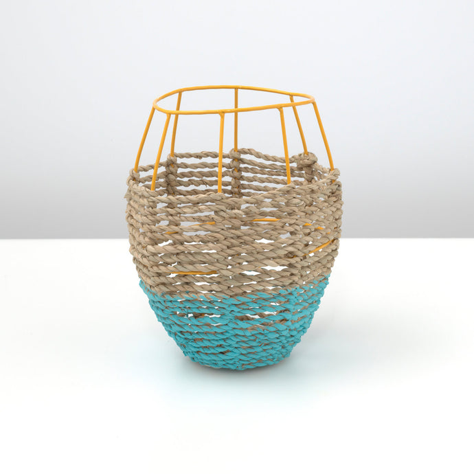 Wicker and Metal Tulip Vase