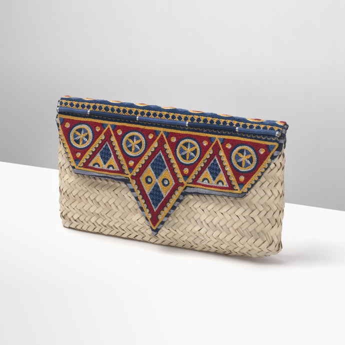 Natural and Blue Sleysla Clutch
