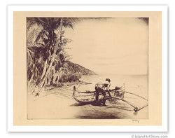 Old Hawaii - Hawaiian in Outrigger Canoe (Wa'a) - c. 1935