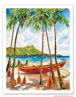 A Peaceful Voyage - Hawaiian Canoe (Wa'a) - Diamond Head Crater