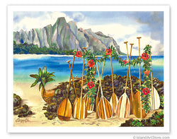 Spirit of the Islands - Hawaiian Canoe (Wa'a) and Paddles (Hoe)