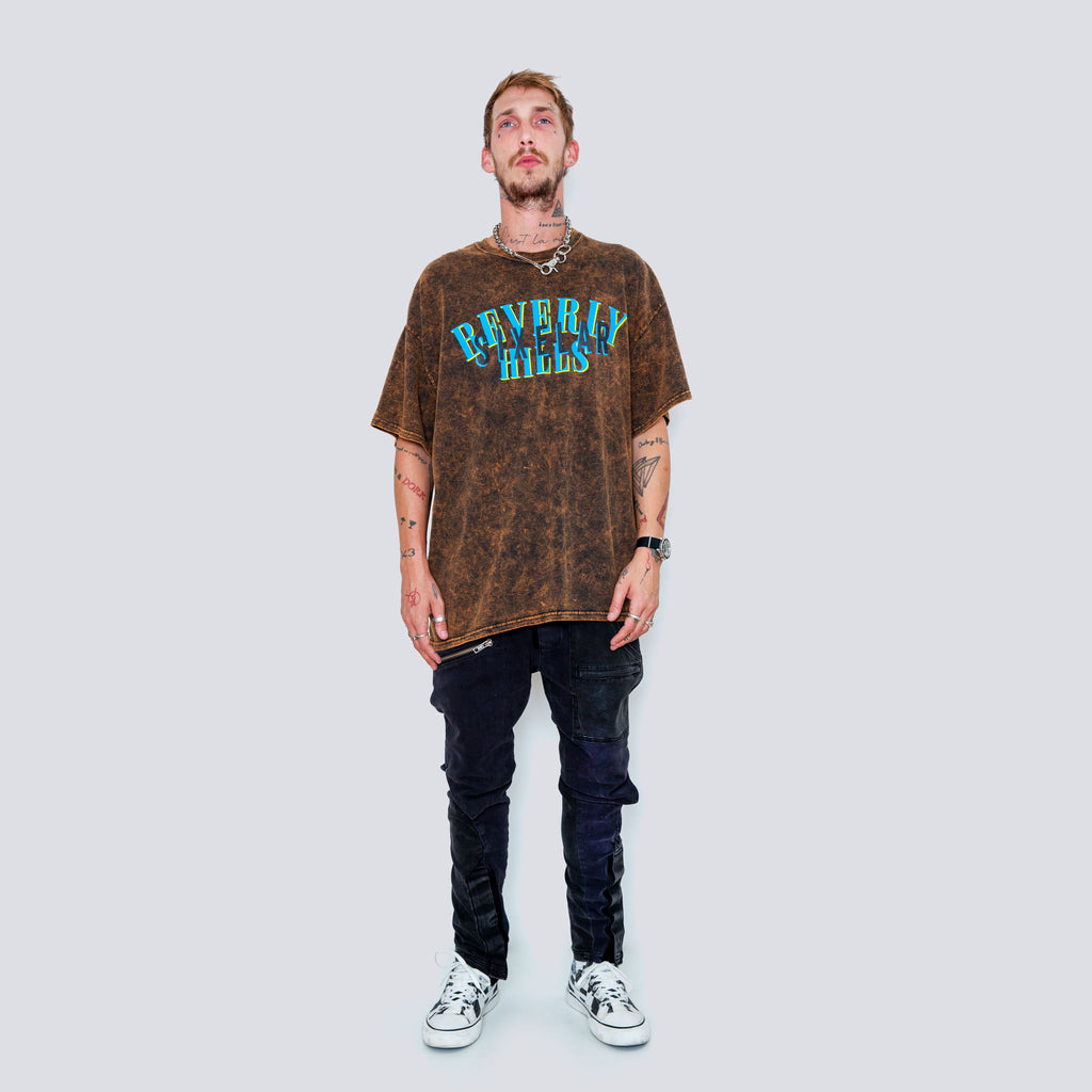 Beverly Hills acid wash tee