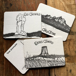 WY-500 Wyoming skyscraper postcard coaster set of six tetons old faithful devils tower
