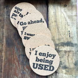 Provocative letterpress coasters set of six cork