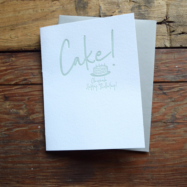 Cake! Happy birthday letterpress card