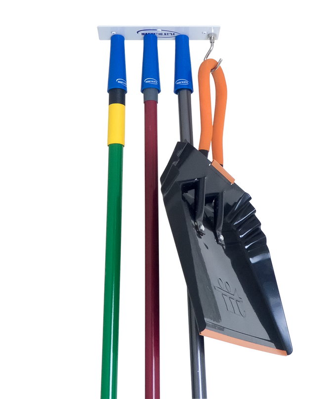 Ceiling Mount Mop and Broom Holder with Magnetic Grips