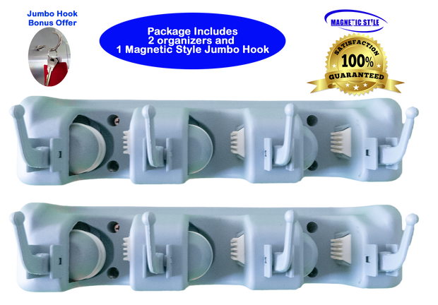 Magnetic Style Mop, Broom & Multipurpose Holder; Wall Mount; 3 Positions for Poles; 4 for Hooks; use for Cleaning & Garden Tools, Sports Gear, Apparel, More; Plus Jumbo Magnetic Hook. 2-Pack
