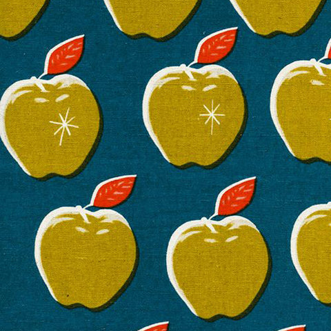 Picnic - Apples in Teal Mustard (Linen Canvas)