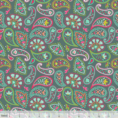 Desert Blooms - Blooming Paisleys in Teal