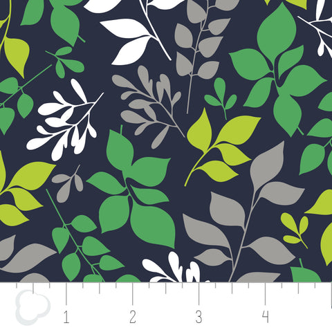 Green With Envy - Leaves in Navy