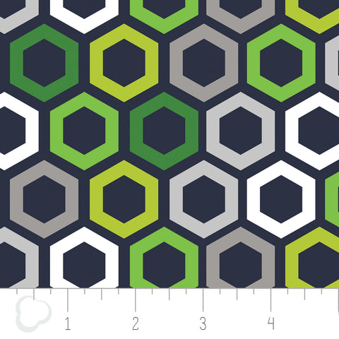 Green With Envy - Hexagon in Navy