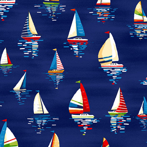 Beside The Sea - Sailboats in Dark Blue