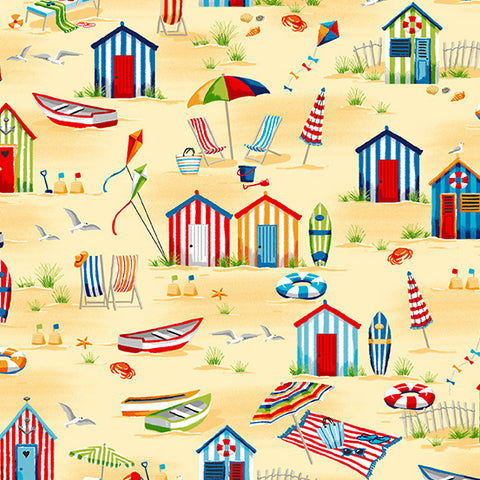 Beside The Sea - Beach Hut Scene in Multi