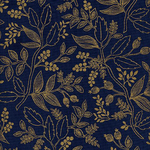 Les Fleurs - Queen Anne in Navy Metallic
