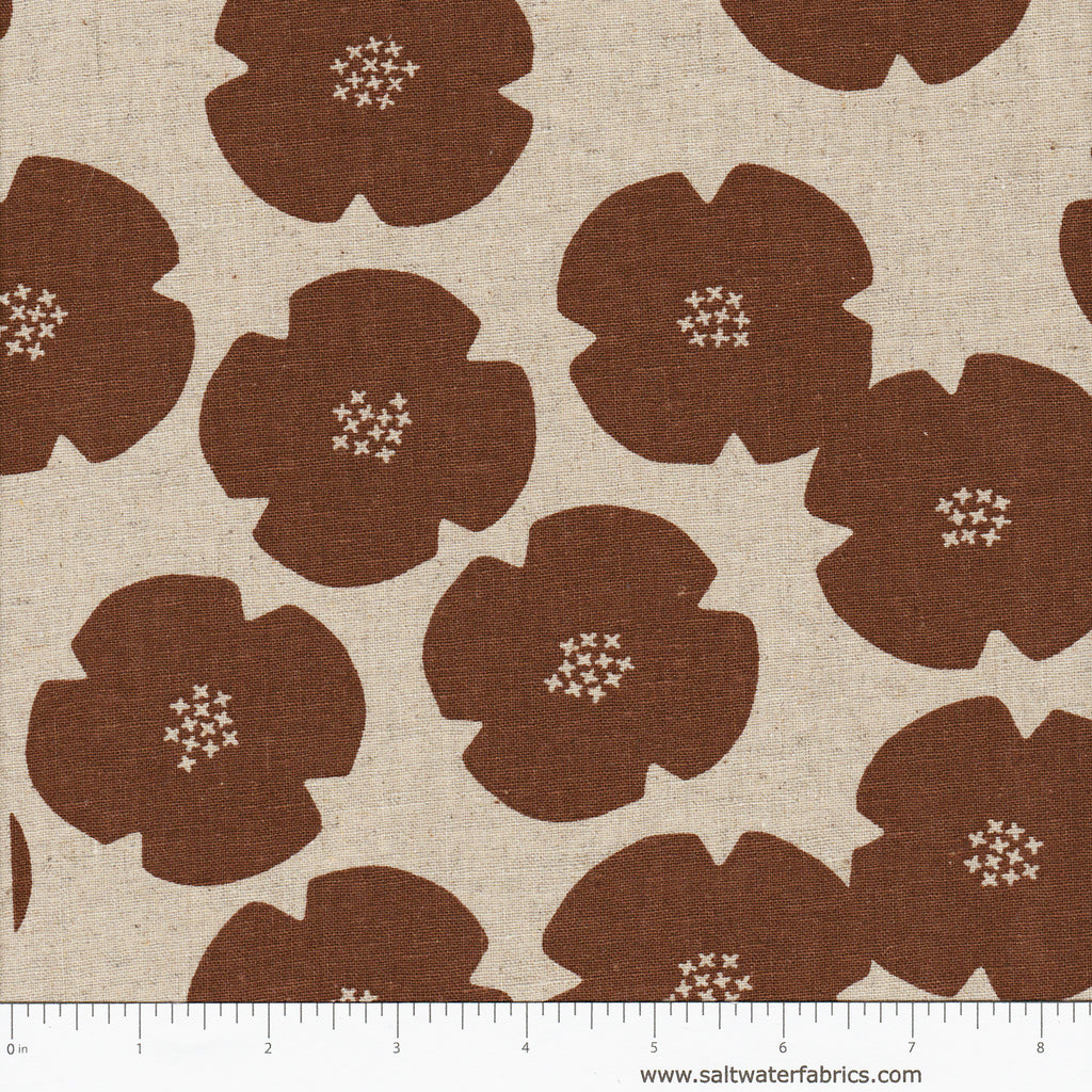 Harmony - Calm Flower in Rust (Linen Cotton)