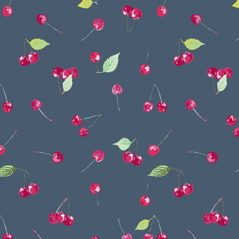 Floralish - Cherry Picking in Navy