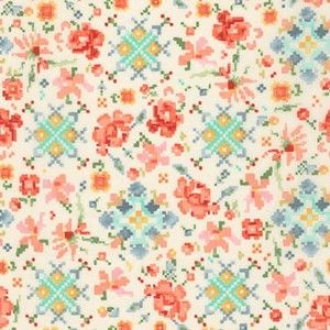 Woodland Clearing - Lawn - Pixel Flowers in Ivory