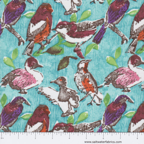 Meadowlark - Birds in Aqua