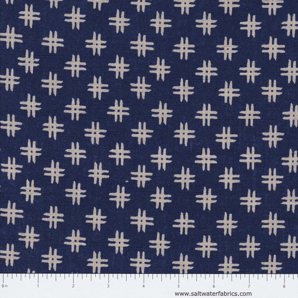 Low Country Indigo Linen - Crosshatch in Indigo