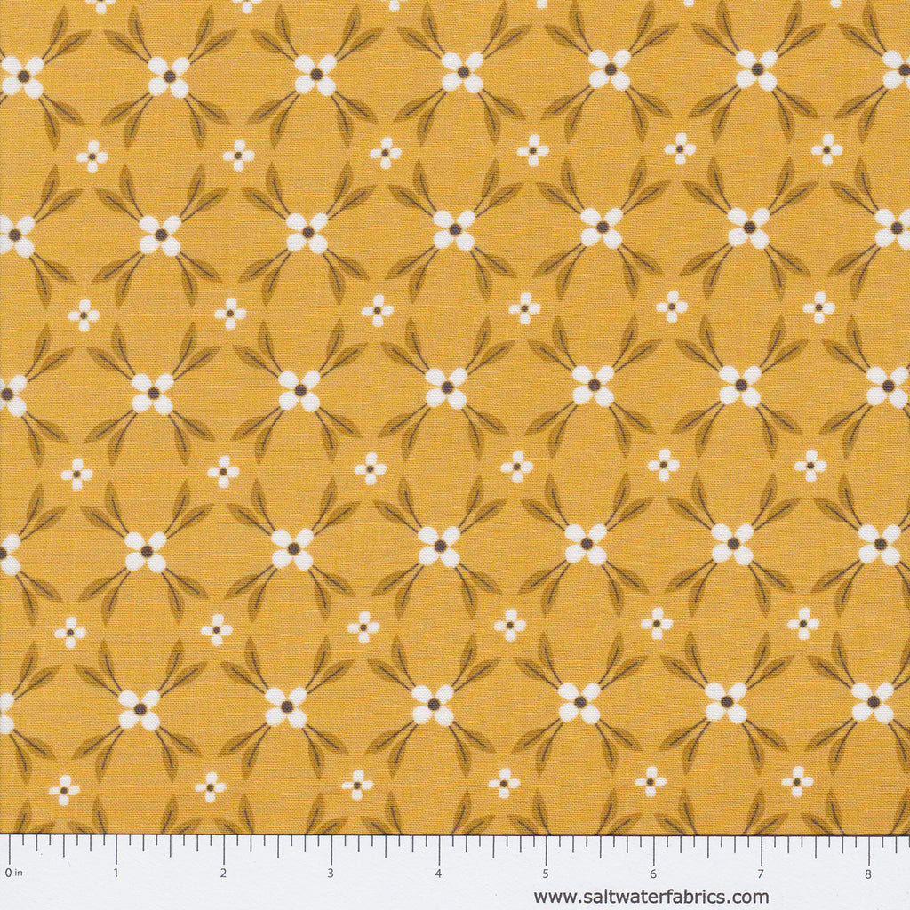 Magnolia - Floral Lattice in Mustard
