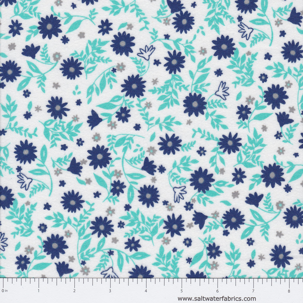 Cozy Cotton Flannel - Floral in Jade