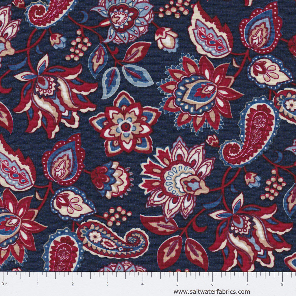 Americana - Jacobean Floral in Navy