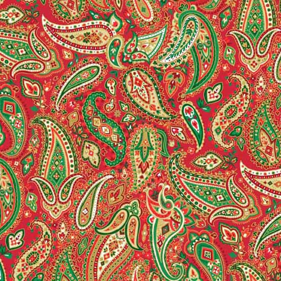 Traditional Metallic Christmas - Paisley in Red