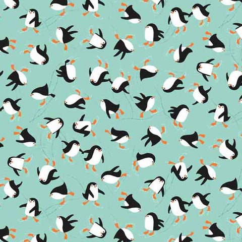 Novelty Christmas - Penguins in Teal