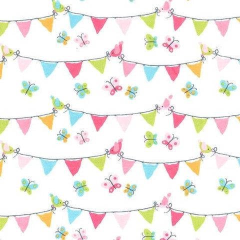Puddle Play Flannel - Pennant Party in Pink