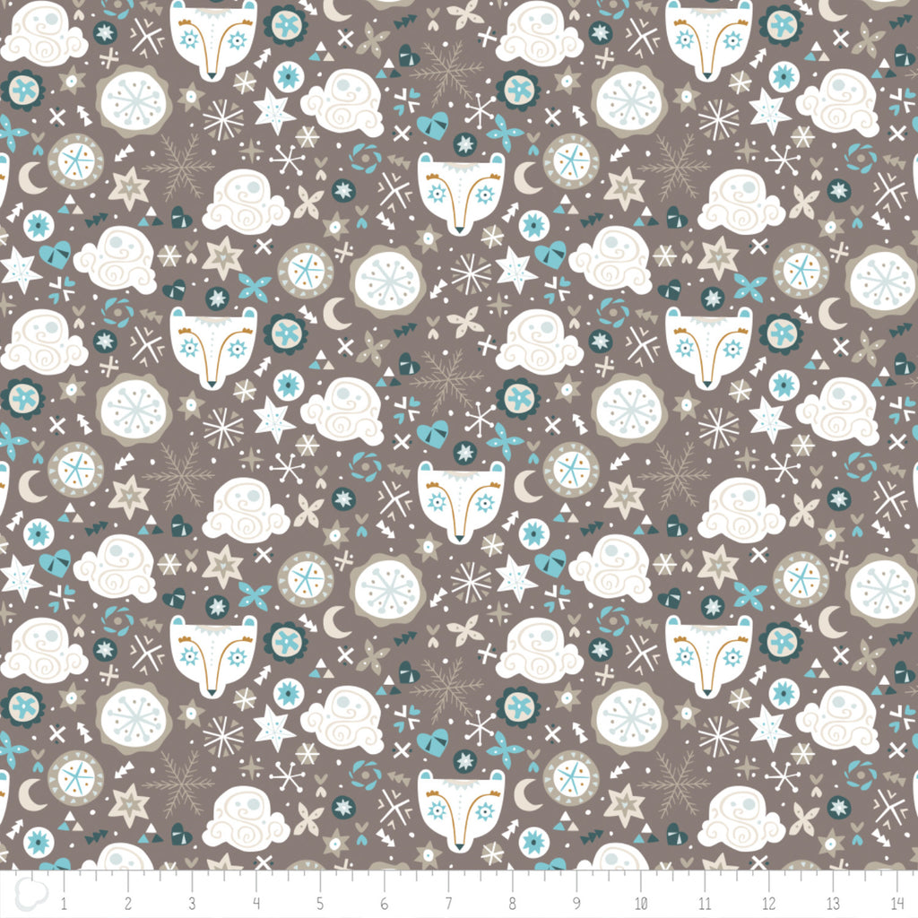 Snowfall - Bear Faces in Taupe