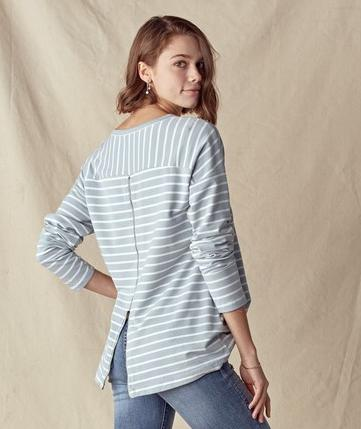 Ameila Long Sleeve Top in Dusty Blue