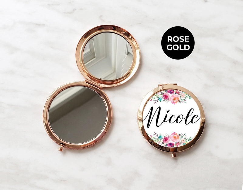 "Floral Personalized Round Compact Mirror - The ""Nicole"" - Compact Mirror - GIFTABLE GOODIES"