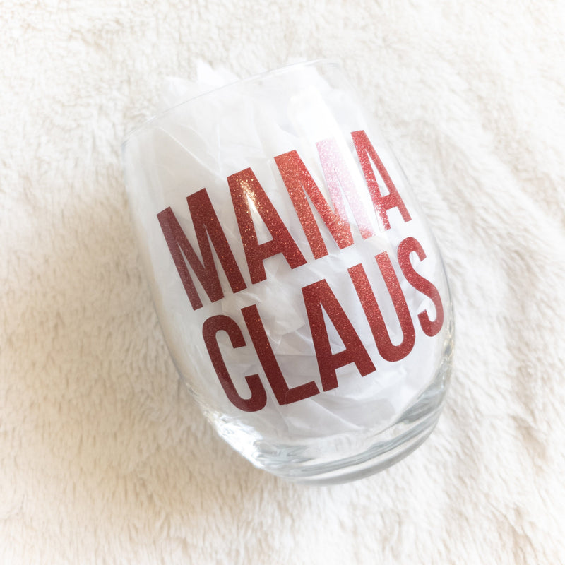 Mama Claus Stemless Wine Glass -  - GIFTABLE GOODIES