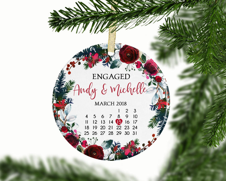 Calendar First Christmas Engaged Custom Ornament