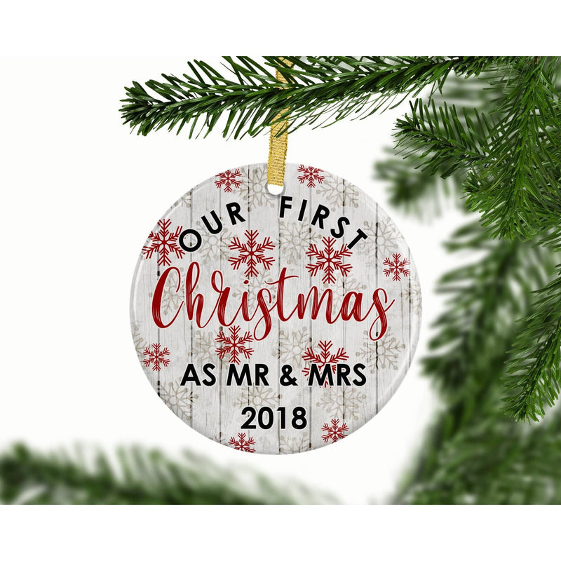 Celebrate First Christmas as Mr and Mrs With Ornament Gift - Ornament - GIFTABLE GOODIES