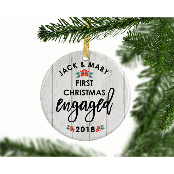 First Christmas Engaged Custom Ornament - Ornament - GIFTABLE GOODIES