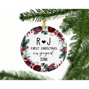 Personalized First Christmas Engaged Custom Ornament - Ornament - GIFTABLE GOODIES