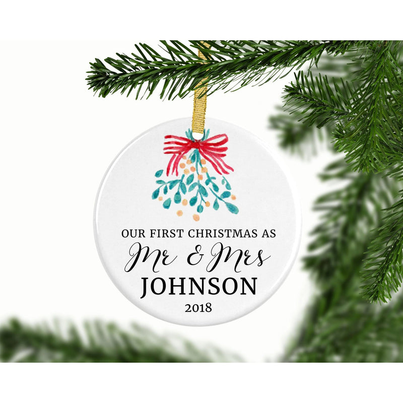 Our First Christmas Custom Ornament (Mistletoe) - Ornament - GIFTABLE GOODIES