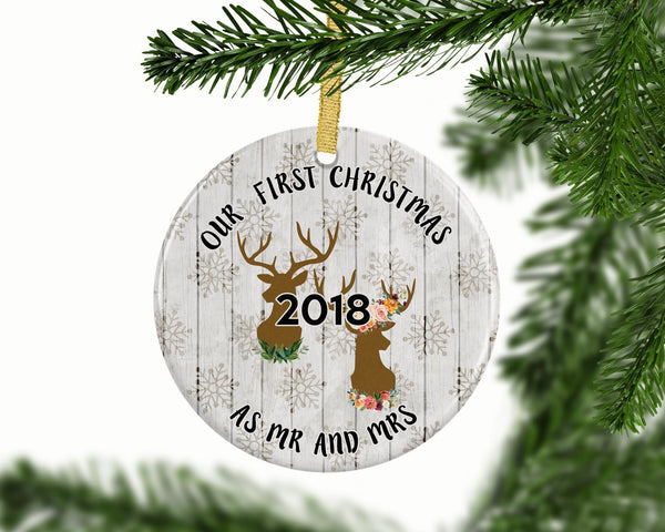 Rustic Deers First Christmas Custom Ornament - Ornament - GIFTABLE GOODIES