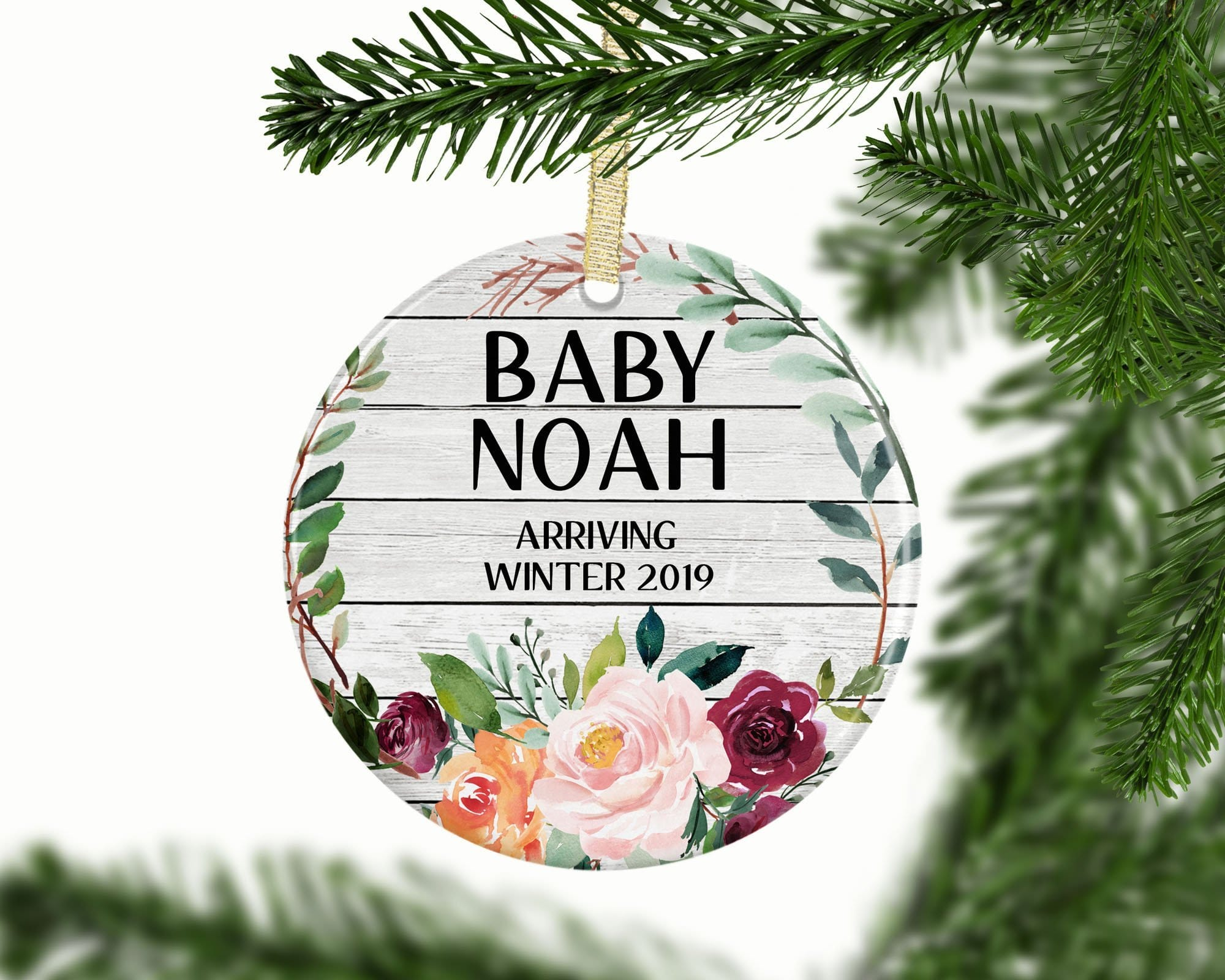 Personalized Floral Baby Custom Ornament - Ornament - GIFTABLE GOODIES