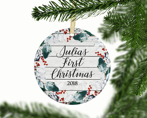 Baby's 1st Christmas Ornament, Custom Baby Ornament, Keepsake Ceramic Ornament, Baby Shower Gift, 1st Christmas, New Baby Gift, Baby's First