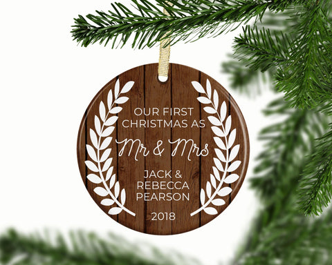 Rustic Christmas Ornament - Our First Christmas as Mr and Mrs 2018 | Wedding Gift Idea, Couples Ornament | FREE SHIPPING