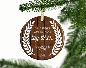 First Christmas Together Rustic Themed Ornament 2018, Personalized Gift, Couples Ornament | FREE SHIPPING