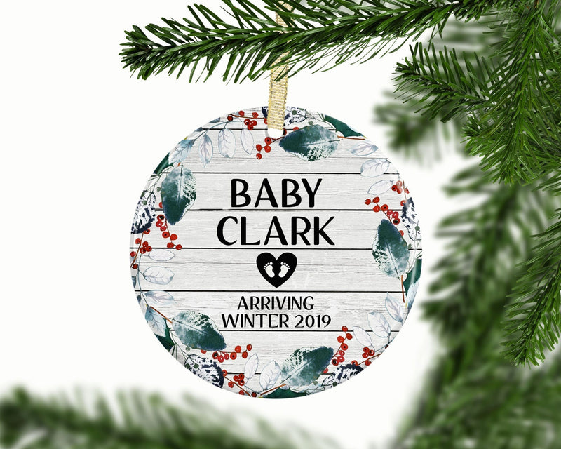 New Baby Custom Ornament - Frosted Cranberry - Ornament - GIFTABLE GOODIES