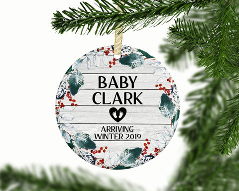 Expecting Ornament, Pregnancy Ornament, Baby Arriving Announcement, Personalized Baby Shower Gift, Baby Ornament, Ceramic Christmas Ornament