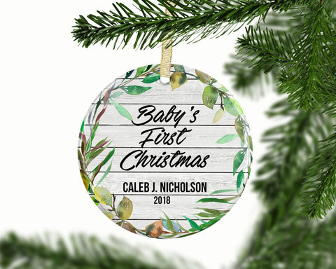 Baby's First Christmas Ornament, Personalized Baby Ornament, Keepsake Ceramic Ornament, Baby Shower Gift, 1st Christmas, New Baby Gift
