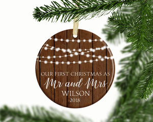 Rustic Our First Christmas as Mr and Mrs Christmas Ornament 2018 | Just Married, Wedding Gift Idea, Couples Ornament | FREE SHIPPING