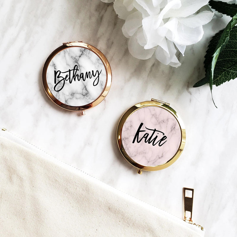 Marble Personalized Compact Mirrors - Compact Mirror - GIFTABLE GOODIES