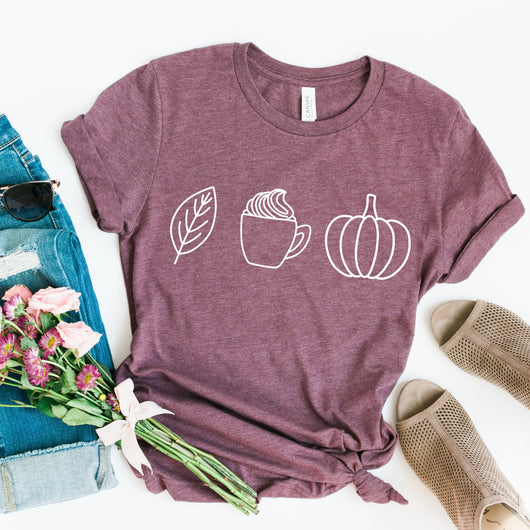 Leaves Falling, Warm Drinks and Pumpkins T-Shirt - T-Shirts - GIFTABLE GOODIES