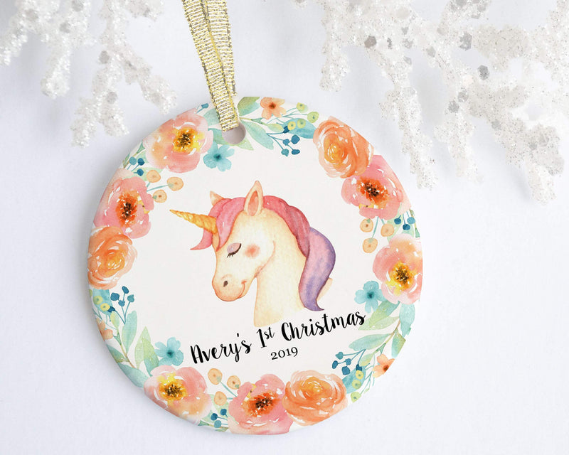 Unicorn Baby Girl 1st Christmas Ornament - Ornament - GIFTABLE GOODIES